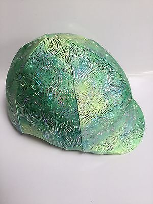 Horse Helmet Cover Green With Holographic Circles Lycra AUSTRALIAN  MADE