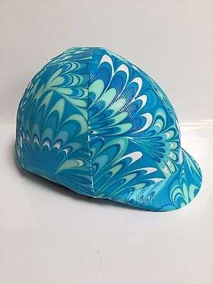 Horse Helmet Cover Blue Feathers Lycra AUSTRALIAN  MADE