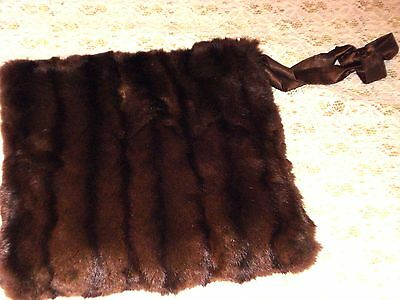 VINTAGE MINK MUFF w ZIPPERED POCKET HAND WARMER