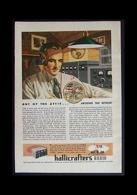 1944 Hallicrafters Ad *Out of the Attic-Around the World* original vintage