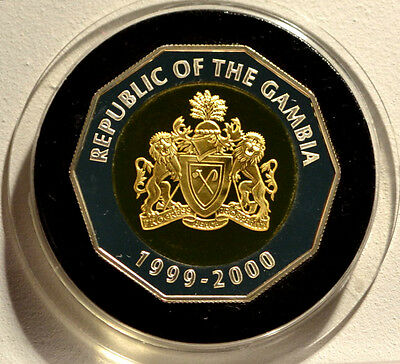 1999 - 2000 Gambia Millennium Silver Proof 2000 Bututs Coin
