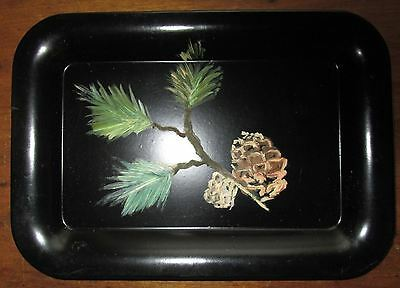 """Vintage Hand Painted Small Black Pinecone Tin Metal Tole Tray 6.75"""" x 4.75"""""""