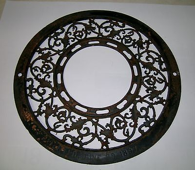 Vintage 1891 Cast Iron Register Grate Antique Old Shabby Round Garden