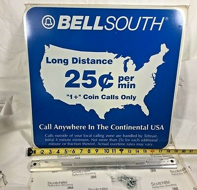"Vintage Metal Sign Telephone Phone  Pay Phone 18""  BELLSOUTH NEW with mount"