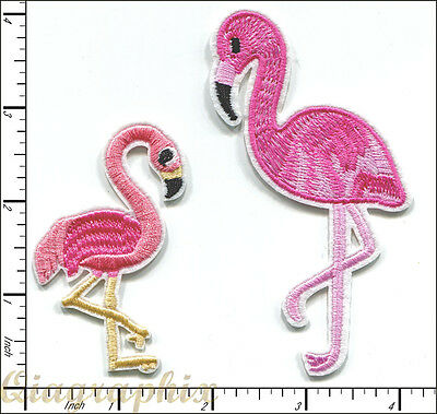 20 Pcs Embroidered Iron on Patches Flamingo Bird Pink AP014fA