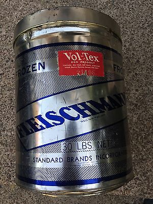 Fleishmann's Vol-tex Products Vintage Food Advertising Large Metal Can