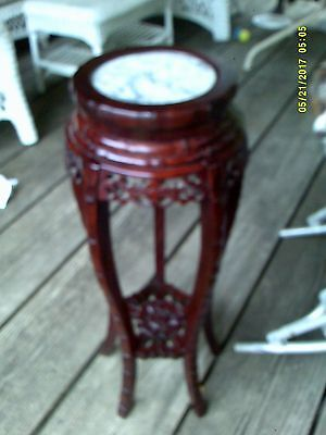 "Vintage Asian CHINA 36"" Floral Carved Burgundy Wooden Marble Topped Plant Stand"