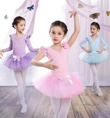 Kids Girls Tutu Ballet Dancing Dress Ballerina Fairy Dancewear T-shirt + Skirt