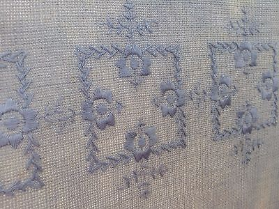 VTG Tablecloth Antique Cotton Crocheted Embroidered Blue Cutter Craft Upcycle