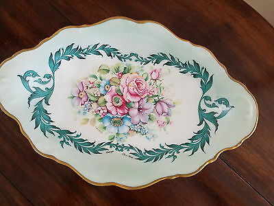 Limoges France Hand Painted Mint Green Oval Bowl Signed-CLOSING SALE