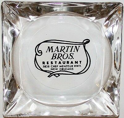 Vintage glass ashtray MARTIN BROS RESTAURANT New Orleans in n-mint condition