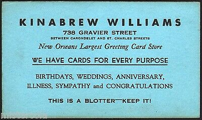 Vintage ink blotter KINABREW WILLIAMS New Orleans Largest Greeting Card Store