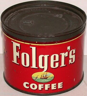 Vintage tin FOLGERS COFFEE dated 1953 1/2 pound size with correct key wind lid