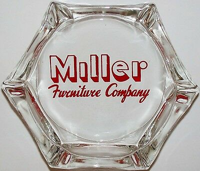 Vintage glass ashtray MILLER FURNITURE COMPANY red logo in n-mint condition