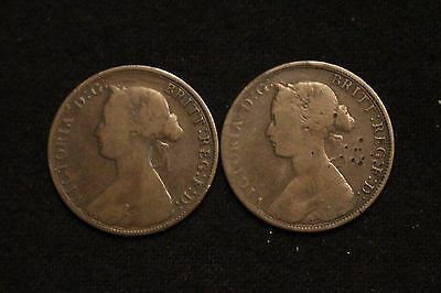 (2) 1864 New Brunswick One Cent Large Cents