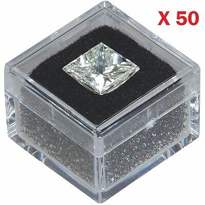 USED 50-pc 1x1 Square Acrylic Gem Box Jar Black insert storage display gemstone