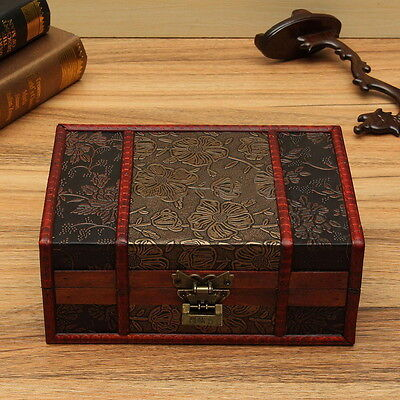 Large Decorative Trinket Jewelry Lock Chest Handmade Wooden Storage Box NV