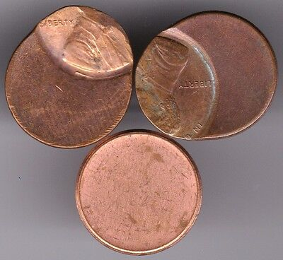 Lincoln Cents Off Center High Grade Us Mint Error Two Coins & Blank Planchet