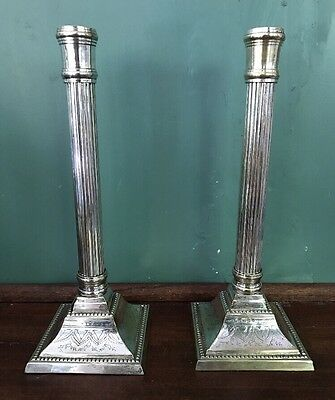 """Silver Plated Ornate Dorian Style Column Candlestick Candle Holder Antique11.5"""""""
