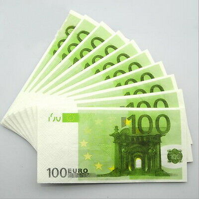 100 PCS €100 Euros Note Novelty Money 3 Ply EU Printed Tissues / Napkins FL