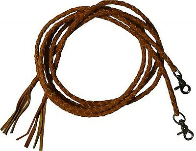 6 1/2' TAN Leather Braided Western Split Reins With Scissor Snap Ends! TACK!