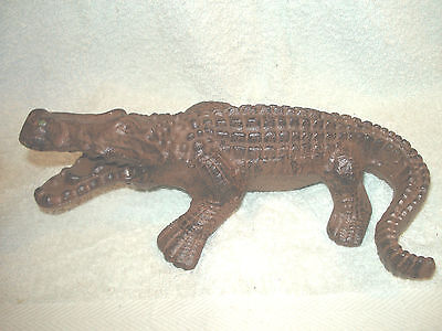 Heavy Cast Iron Croc0Dile Doorstop Nice  Rustic Aged Finish 10'' X 6'' X 4.75''