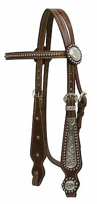 Showman Engraved Silver Inlay Leather Headstall & Reins Set! NEW HORSE TACK!