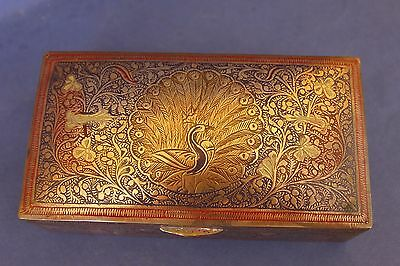 Antique Indian Brass, Teak lined tobacco box. Peacock.