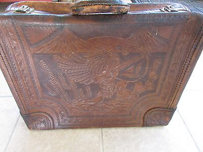 Vintage Antique Suitcase Hand Tooled Brown Leather Azteca Hunter