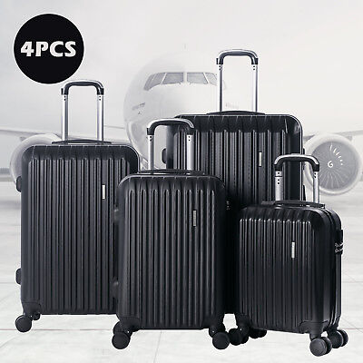 New 4Pcs Luggage Travel Set Bag ABS Trolley Spinner Suitcase W/TSA Lock Black