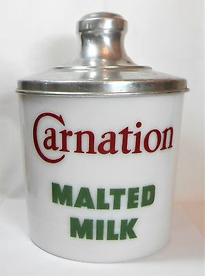 Vtg Carnation Malted Milk Glass Jar Country Store Display Soda Fountain Canister