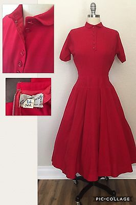 Vintage 1950s Red Wool Dress Anne Fogarty FItted Waist Very Full Skirt Sz S/XS