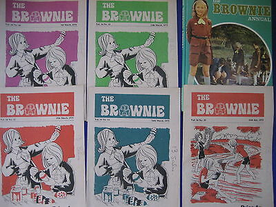 vintage 1970s retro the brownie annual 1975 + 5 comics brownies magazines lot