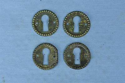 Antique SET 4 PRESSED BRASS ROUND KEY HOLE COVER ESCUTCHEON HARDWARE #03785