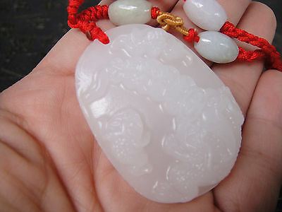 Delicate Chinese white jade carving of aristocratic pendant S56