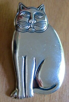Vintage Laurel Burch Cat Brooch Pin Silver tone Sitting Signed