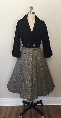VTG early 1950's Suit With Black Crop Jacket and Tweed Skirt  Sz S/XS