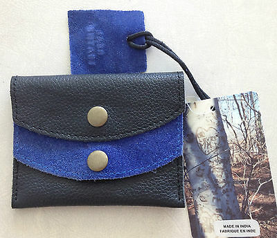 Urban Outfitters Credit Card Case Wallet Black Blue Real Leather Suede New