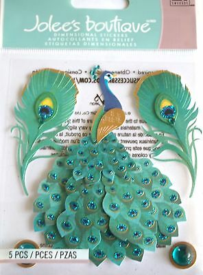 JOLEE'S BOUTIQUE PEACOCK Bird Elegant Scrapbook Craft Stickers Embellishment