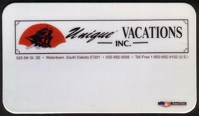 Unique Vacations Inc - Watertown, South Dakota (BC Size) 1992 Phone Card