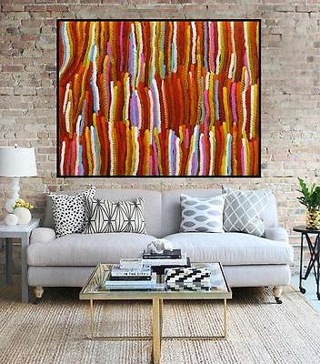 Huge 120cm by 85cm contemporary abstract dot painting by Judy Narnina