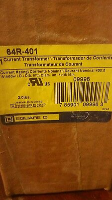 "SQUARE D CURRENT TRANSFORMER 64R-401 NEW 64R401 400:5 Opening 1 15/16"" 1 Phase"