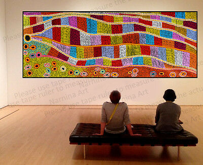 Huge 250cm by 100cm aboriginal style contemporary  dot painting by Anna Narnina