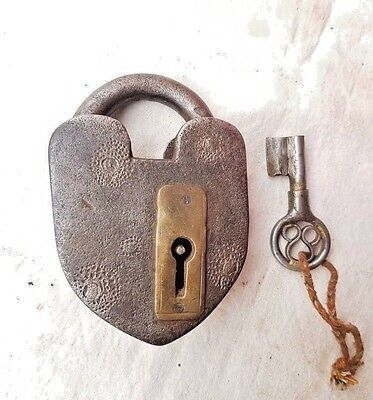 1900's Old Antique Iron Unique Shape Rare Very Tricky / Puzzle System Lock & Key
