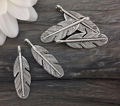 Feather Charms Antique Silver 8 pcs Angel Feather Animal Themed Pendant CH256