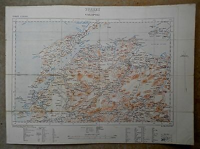 1908 Early Uk War Office  /  Very Detailed Map Of Gallipoli