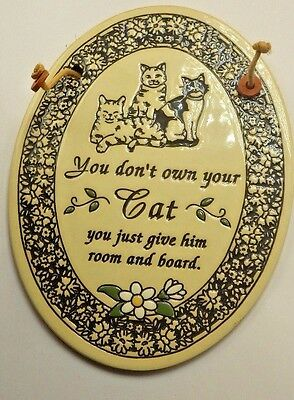Welcome Tiger Cat Sign Plaque Slate Tabby Made in USA