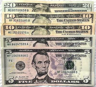$50- $20,$10,$5 Dollar bills Neat Serial Numbers Series 2013 lightly circulated