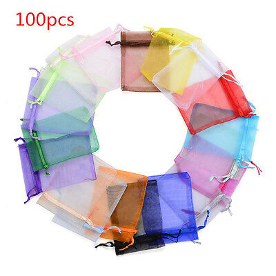 1/100pcs Organza Wedding Xmas Party Favor Gift Bags Candy Jewellery Pouches NEW