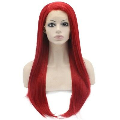 Long Straight Red Lace Front Costume Party Wig